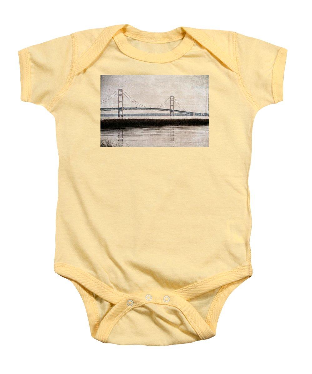 Mackinac Bridge Grunge Baby Onesie featuring the photograph Mackinac Bridge Grunge by Dan Sproul