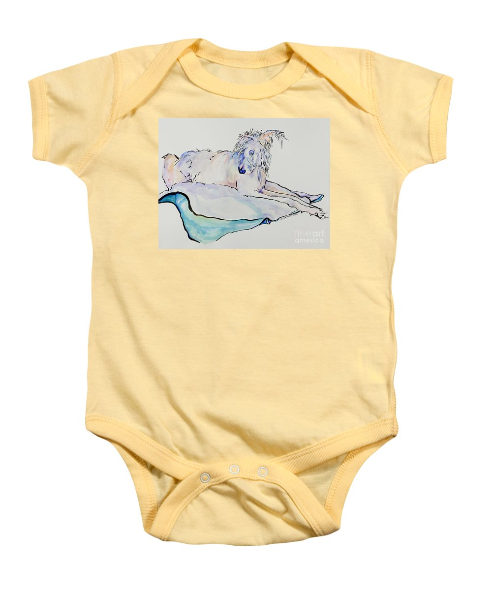 Animal Portrait Baby Onesie featuring the painting Maevis by Pat Saunders-White