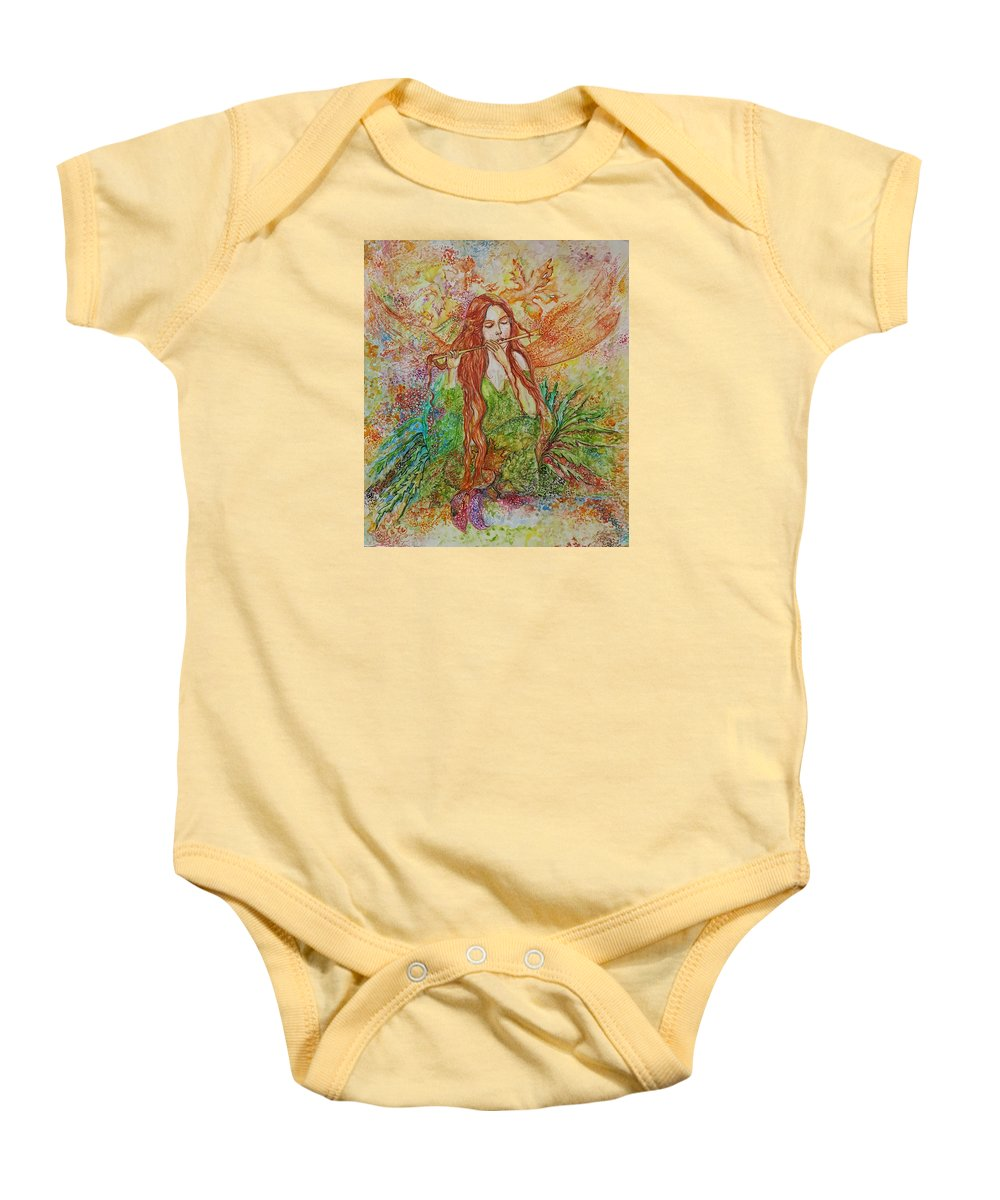 Song Baby Onesie featuring the painting Magical Song Of Autumn by Rita Fetisov