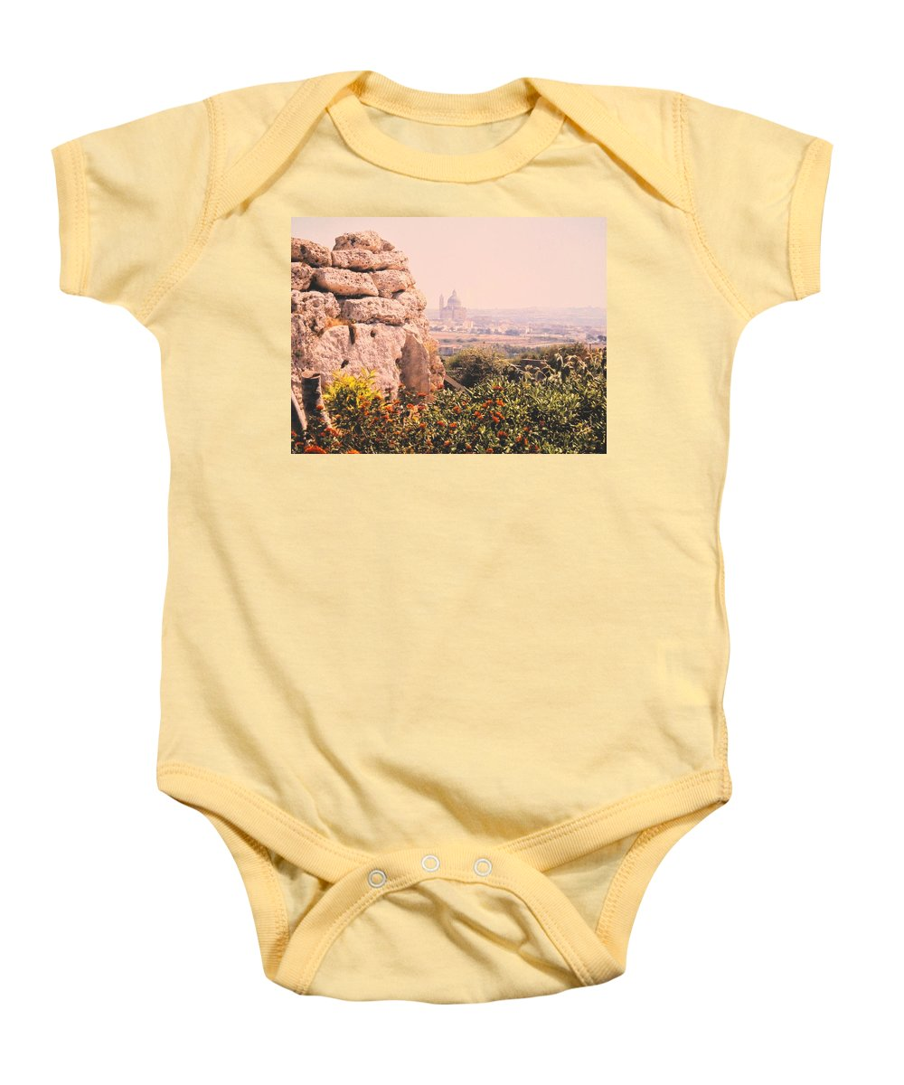 Malta Baby Onesie featuring the photograph Malta Wall by Ian MacDonald