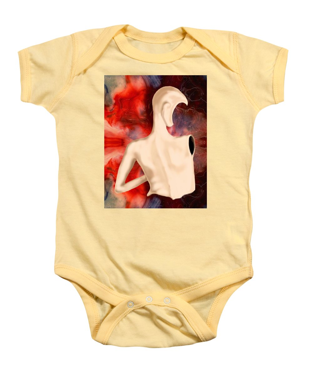 Woman Fashion Naked Surreal Abstract Baby Onesie featuring the digital art Manequin by Veronica Jackson