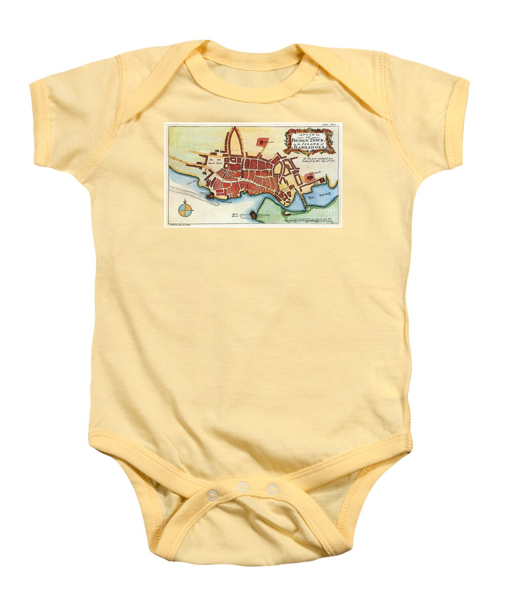 1770 Baby Onesie featuring the photograph Map: Barbados, C1770 by Granger