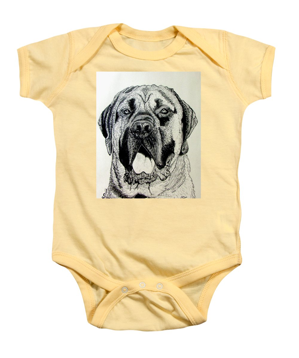Mastiff Baby Onesie featuring the drawing Mastiff by Stan Hamilton