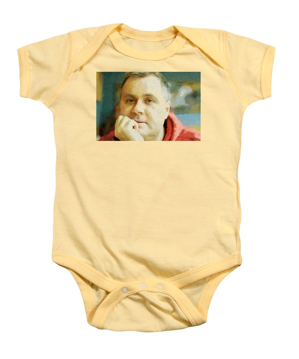 Self Portrait Baby Onesie featuring the painting Me by Jeffrey Kolker