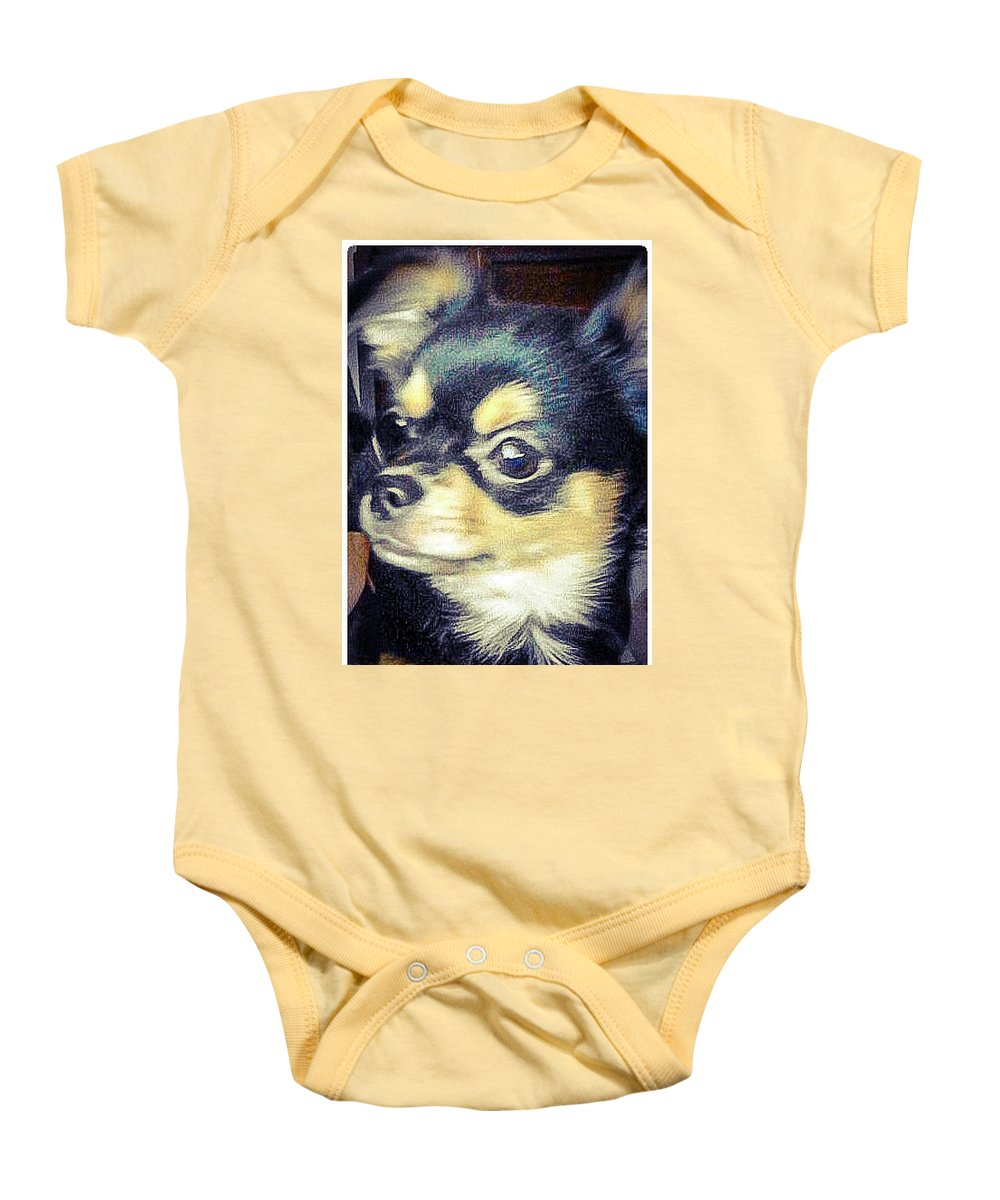 Mexican Chihuahua Puppy Baby Onesie featuring the photograph Mexican Chihuahua Puppy by Shirley Anderson