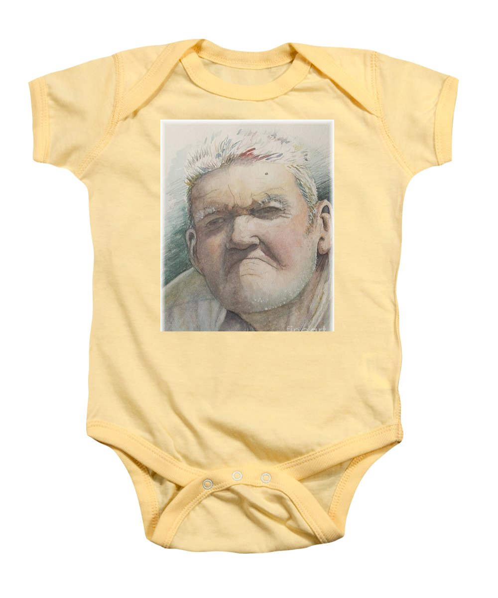 Portrait Baby Onesie featuring the painting Minnesota Farmer by Nadine Rippelmeyer