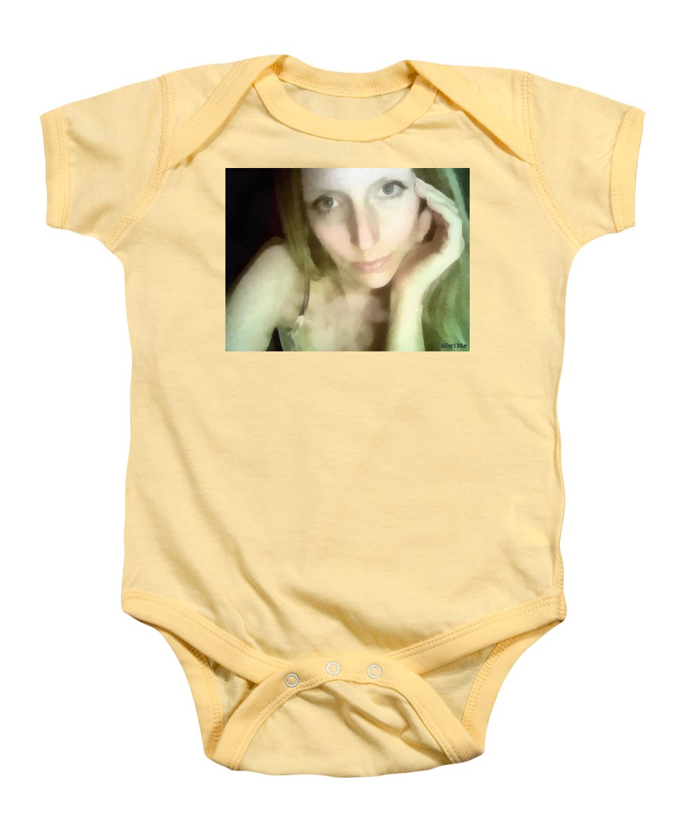 Female Baby Onesie featuring the painting Miriam By Monitors Glow by Jeffrey Kolker