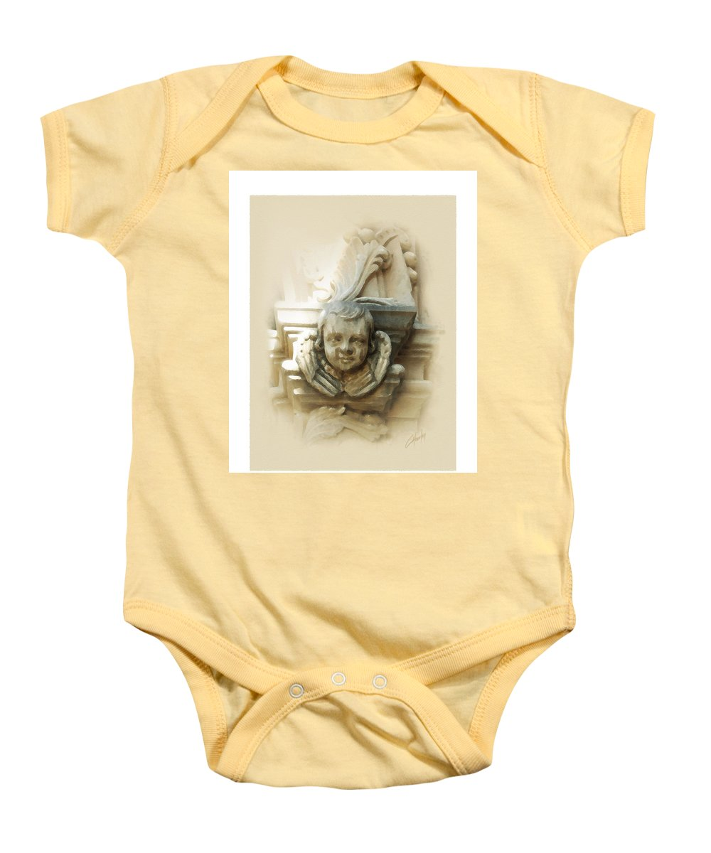 Digital Art Baby Onesie featuring the painting Mission San Jose Angel by Cliff Hawley