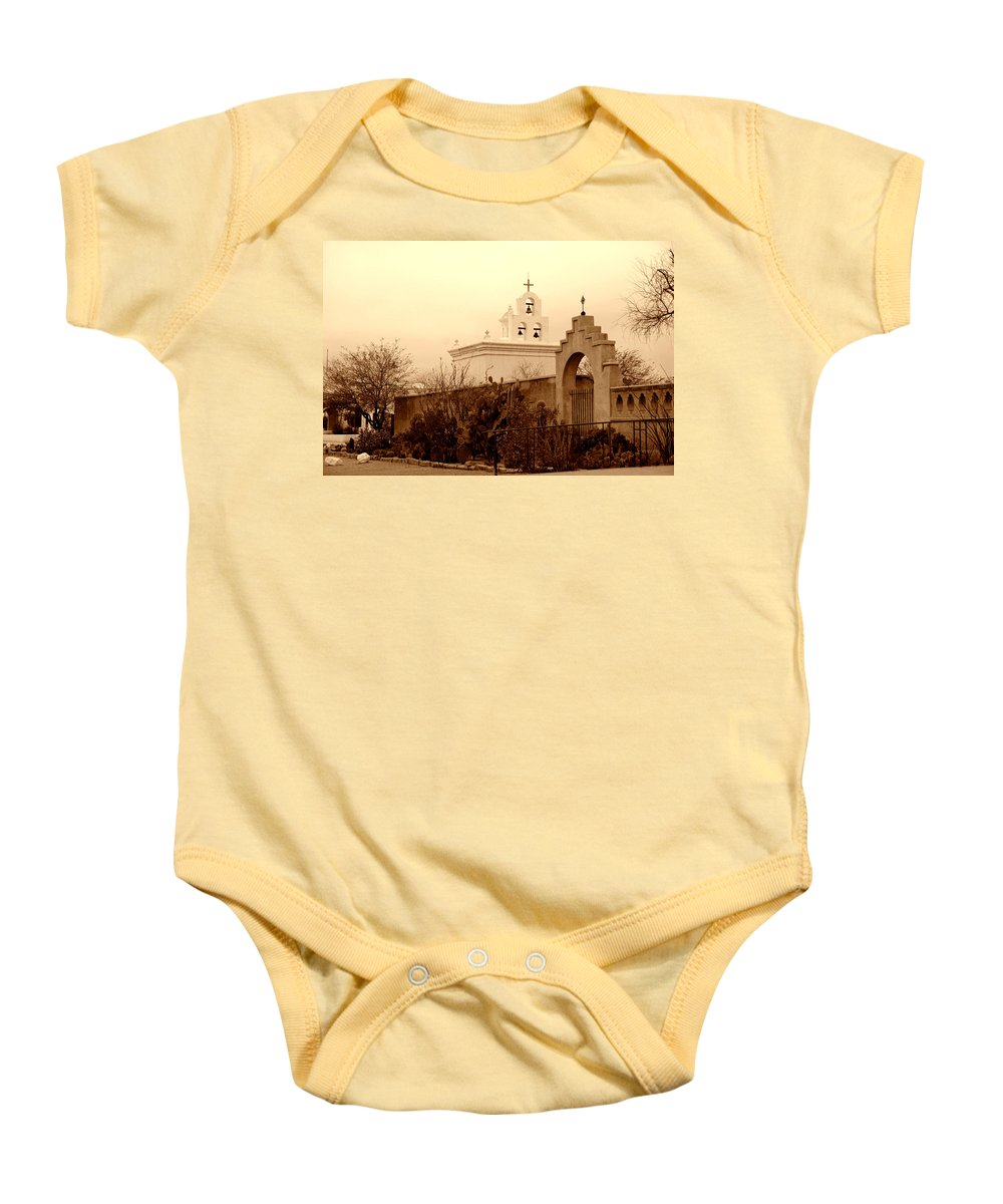 Photography Baby Onesie featuring the photograph Mission San Xavier Chapel by Susanne Van Hulst