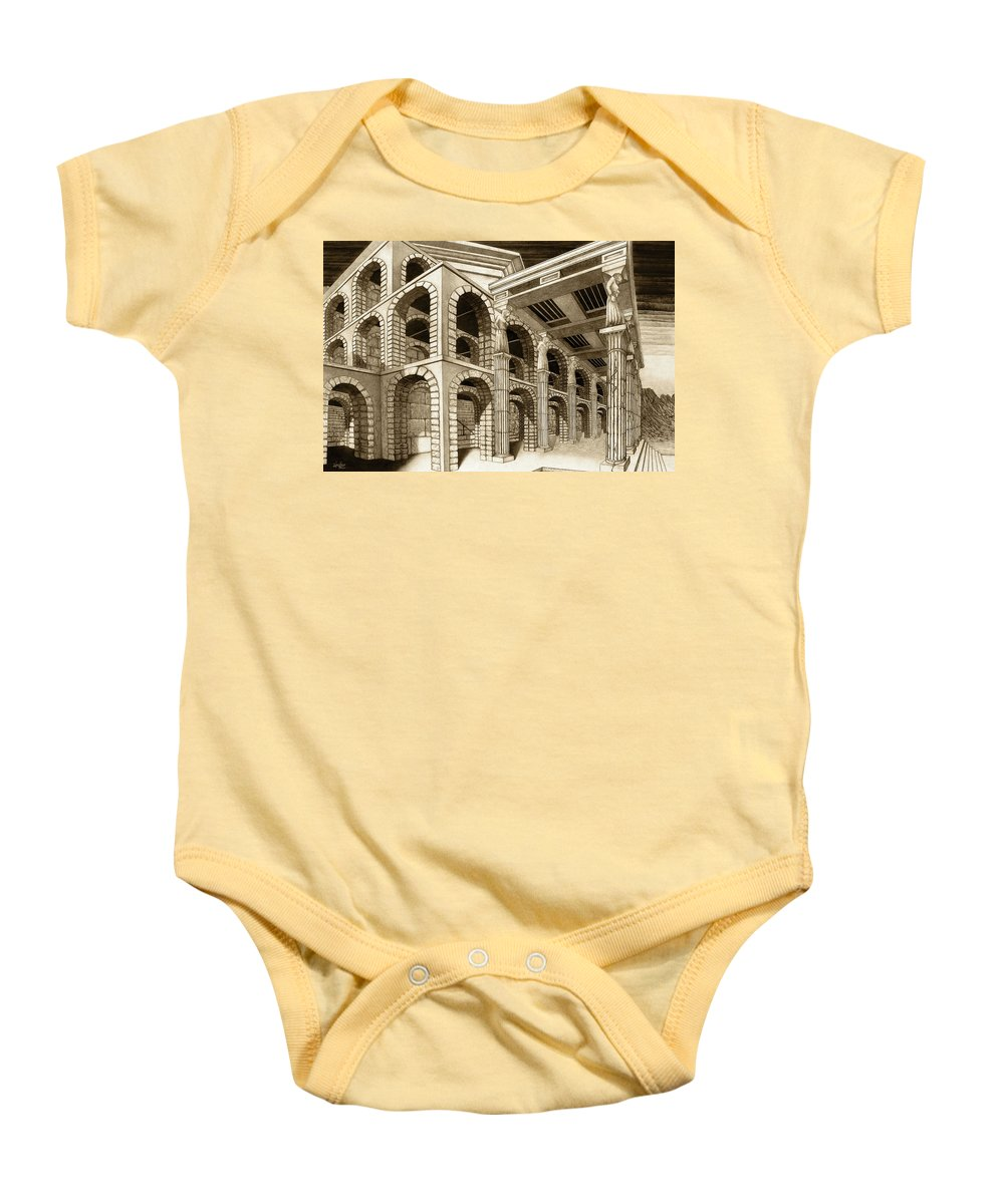 Mithlond Baby Onesie featuring the drawing Mithlond Gray Havens by Curtiss Shaffer