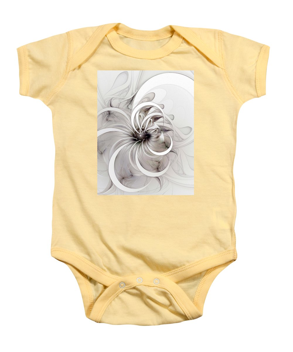 Digital Art Baby Onesie featuring the digital art Monochrome Flower by Amanda Moore