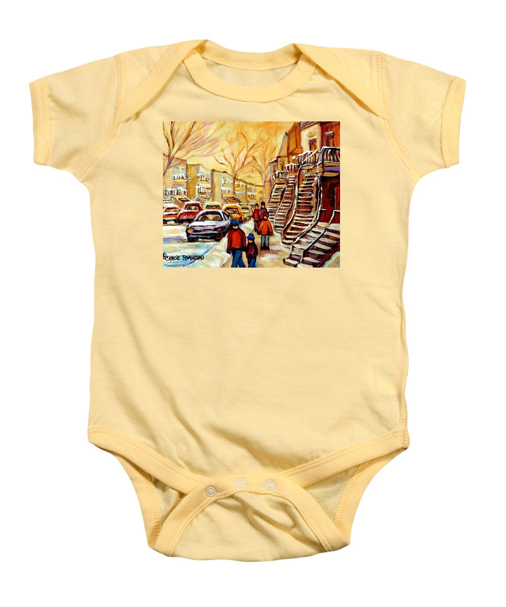 Montreal Baby Onesie featuring the painting Montreal City Scene In Winter by Carole Spandau