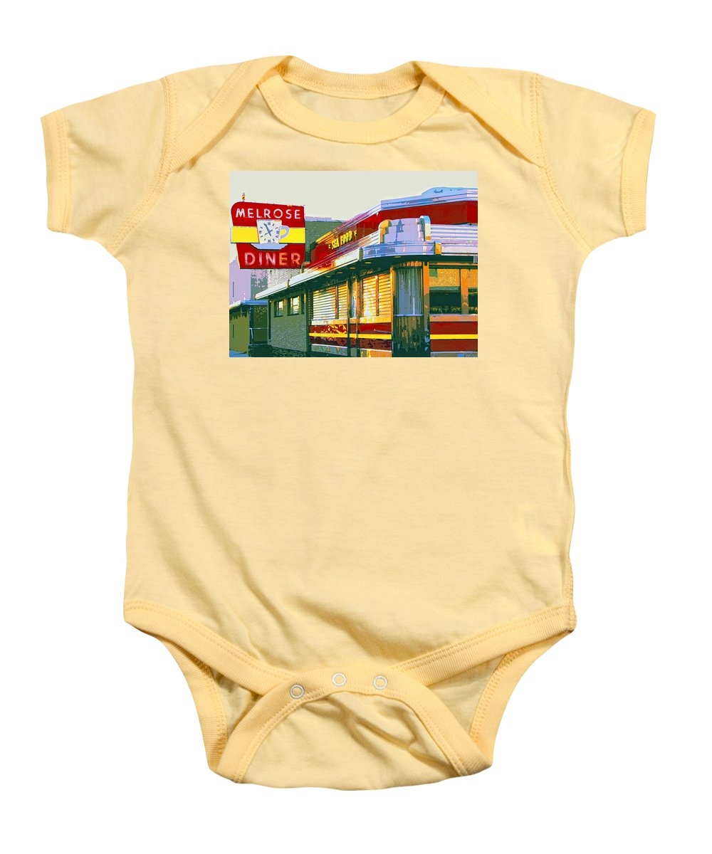 Melrose Avenue Baby Onesie featuring the mixed media Morning At The Melrose by Dominic Piperata