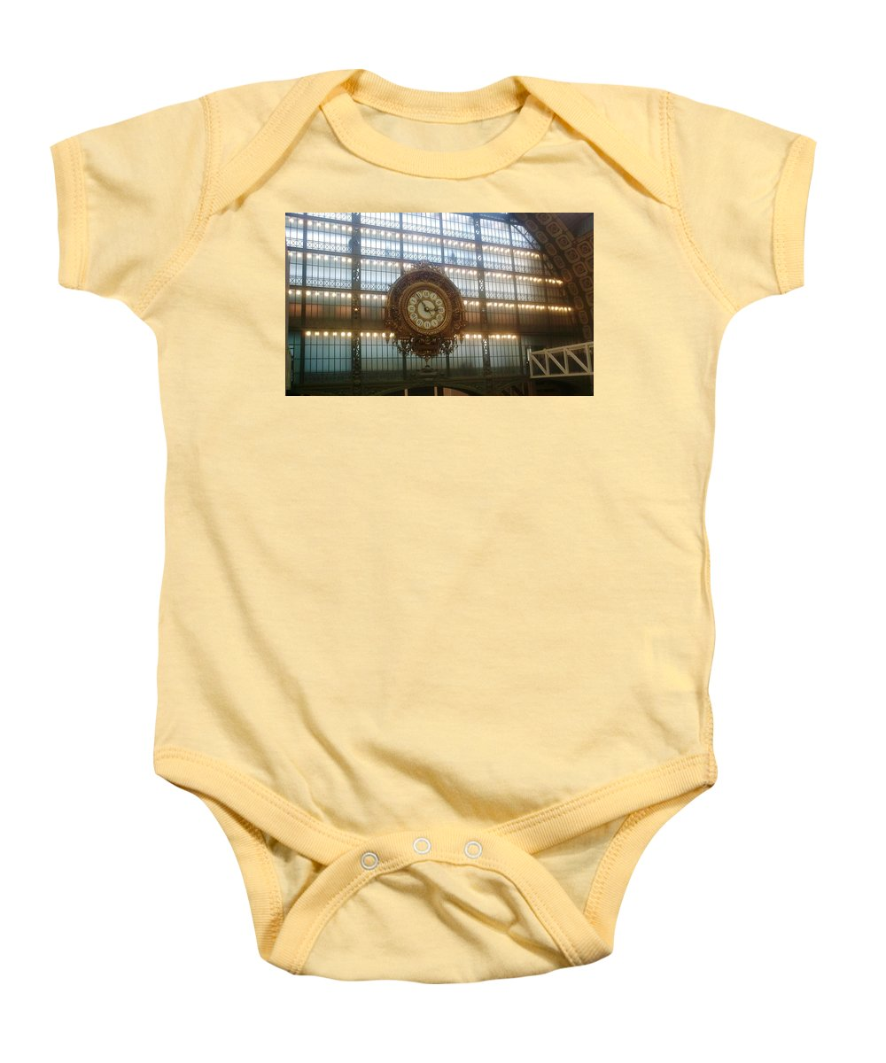Museum Baby Onesie featuring the photograph Museum D'orsay Clock by Valerie Ornstein