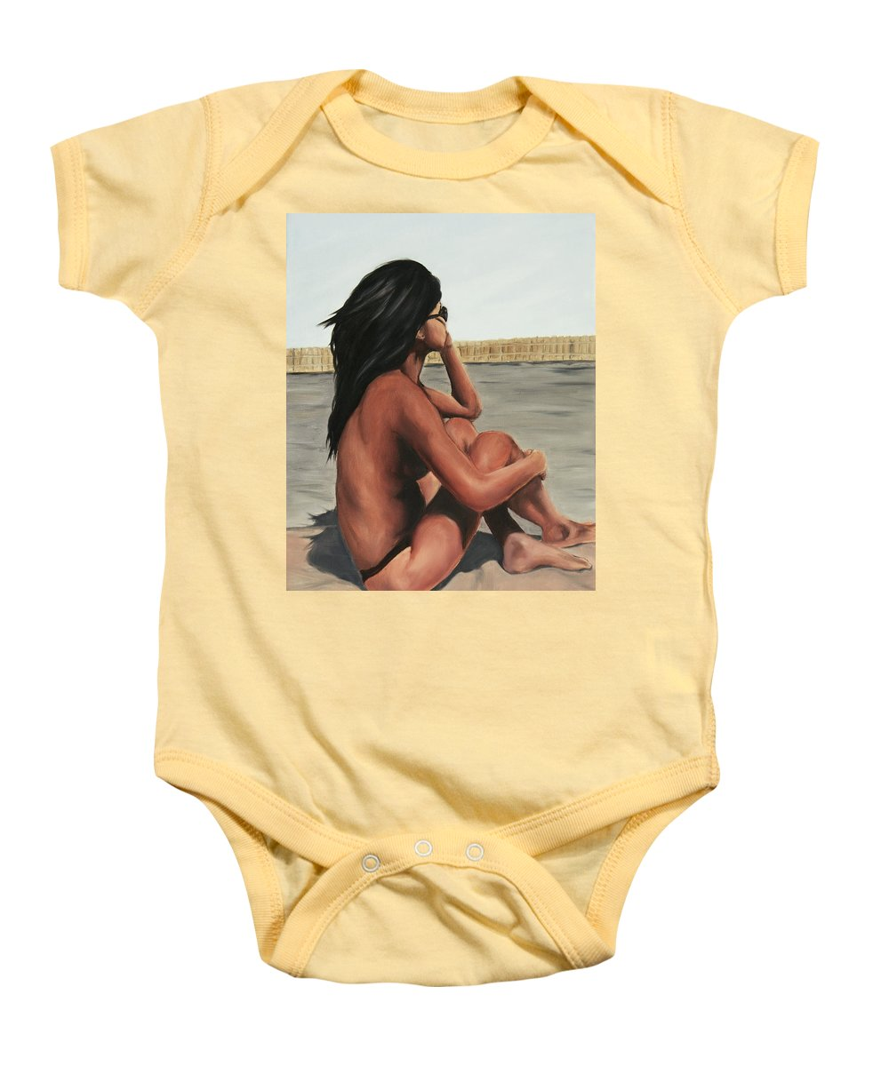 Nude Baby Onesie featuring the painting My Sunglasses by Stanimir Stoykov