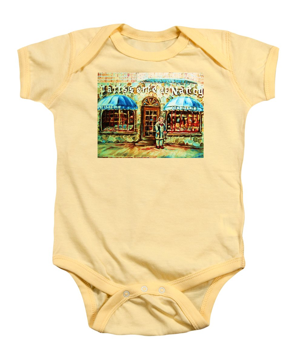 Bakery Shops Baby Onesie featuring the painting Nancys Fine Pastries by Carole Spandau