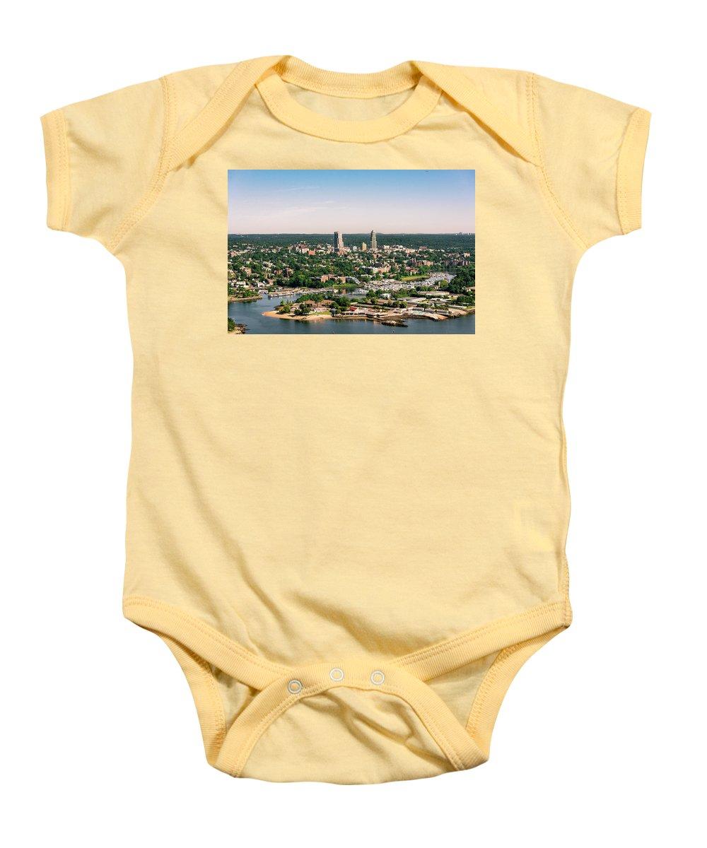 Beach Club Baby Onesie featuring the photograph New Rochelle Beach Clubs by Louis Vaccaro