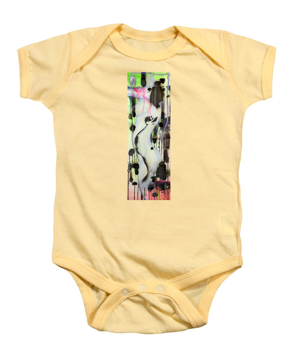 Woman Baby Onesie featuring the painting No Winners In Love by Sheridan Furrer