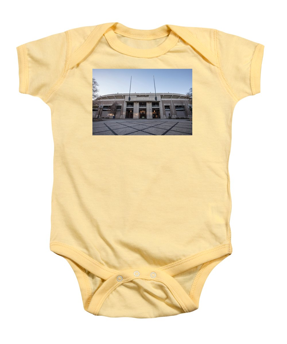 American University Baby Onesie featuring the photograph University Of Notre Dame by John McGraw