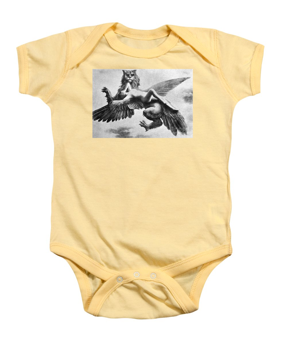 Baby Onesie featuring the painting Nude And Griffin, 1890s by Granger