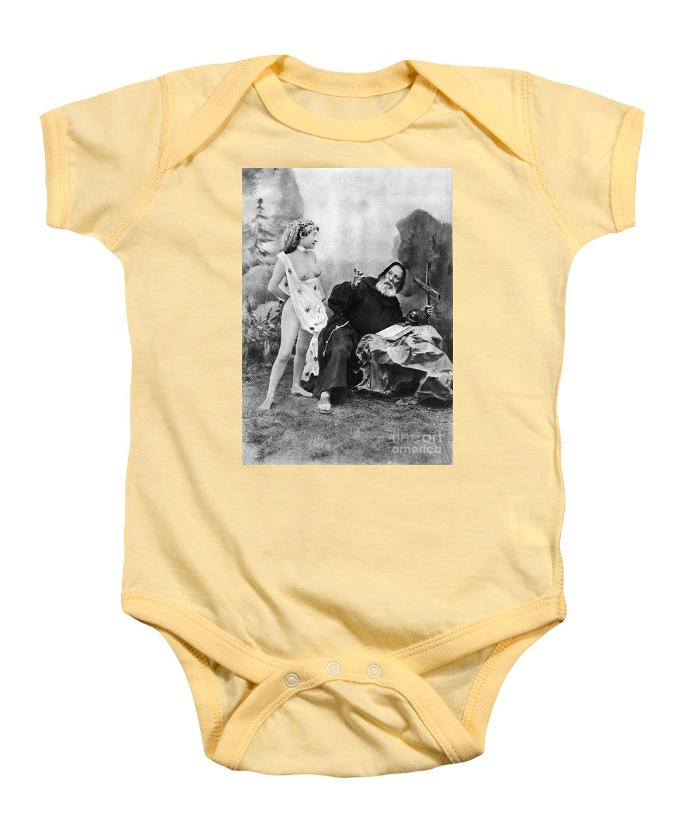 1895 Baby Onesie featuring the photograph Nude And Monk, C1895 by Granger