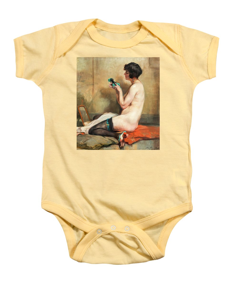 Jean Gouweloos. Gouweloos Baby Onesie featuring the painting Nude by Jean Gouweloos