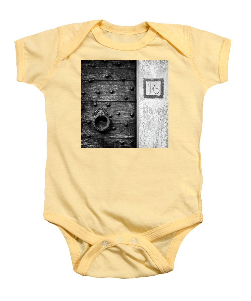 Number 16 Baby Onesie featuring the photograph Number 16 by Dave Bowman