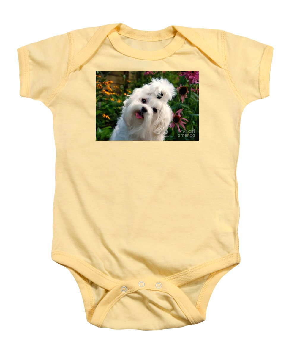 Dog Baby Onesie featuring the photograph Nuttin' But Love by Lois Bryan
