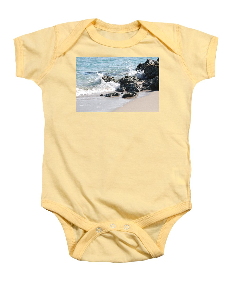 Ocean Baby Onesie featuring the photograph Ocean Drive Rocks by Rob Hans