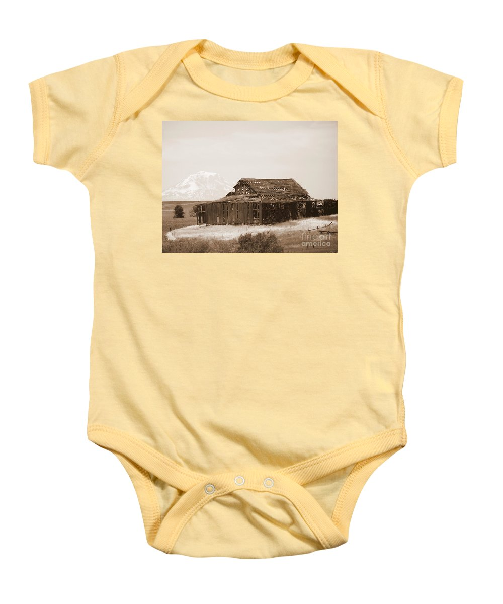 Barn Baby Onesie featuring the photograph Old Barn With Mount Adams In Sepia by Carol Groenen