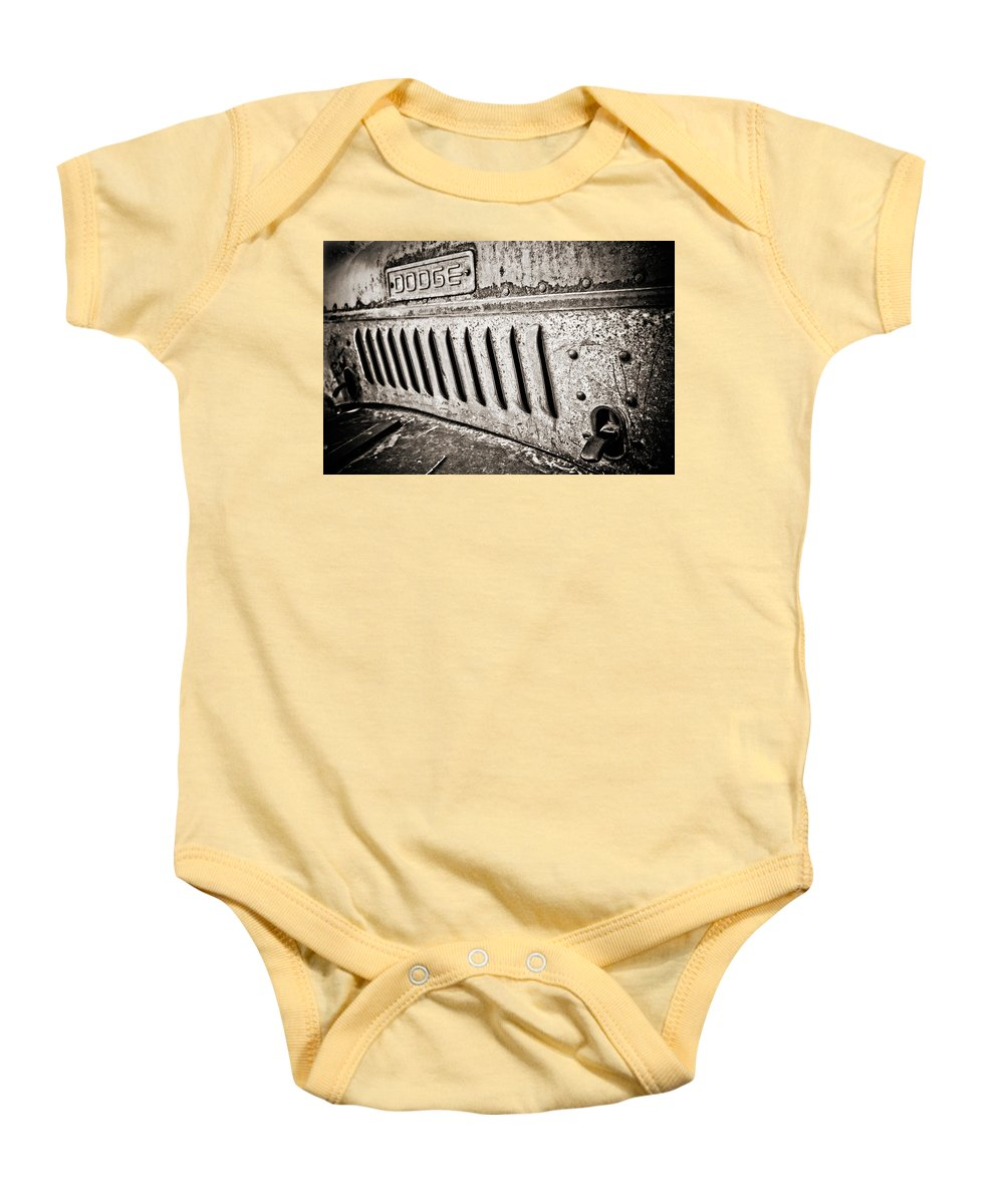 Americana Baby Onesie featuring the photograph Old Dodge Grille by Marilyn Hunt