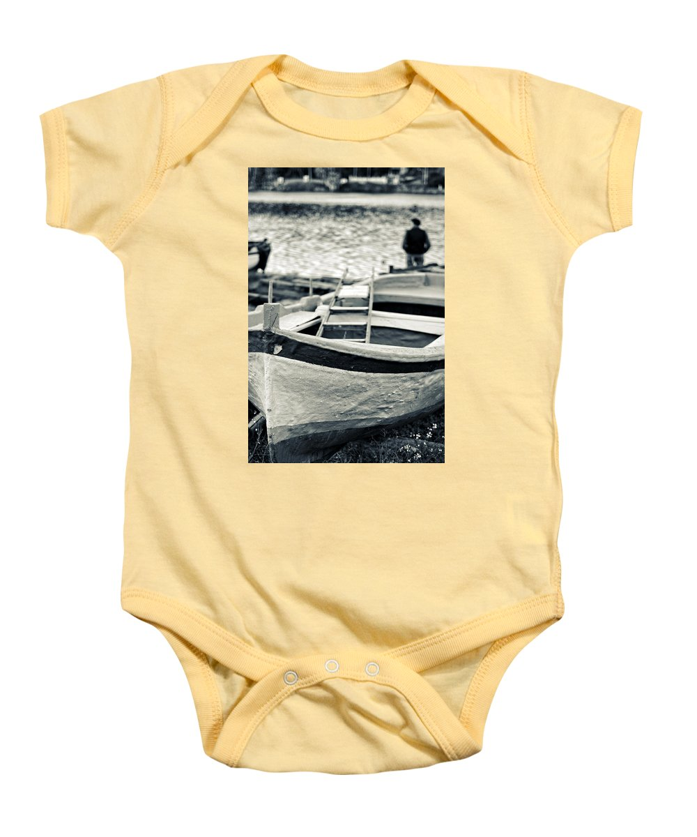Boat Baby Onesie featuring the photograph Old Man And Boat by Silvia Ganora