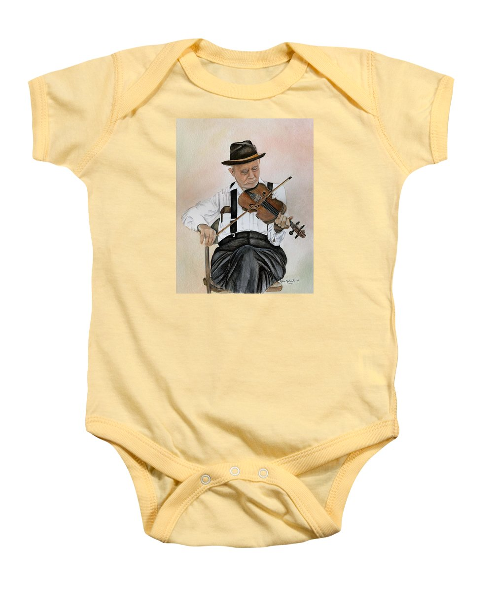 Fiddle Baby Onesie featuring the painting Old Time Fiddler by Robin Martin Parrish