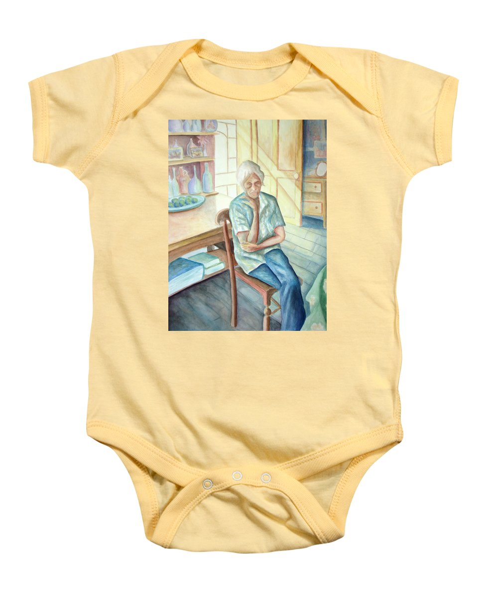 Woman Baby Onesie featuring the painting Old Woman by Nancy Mueller