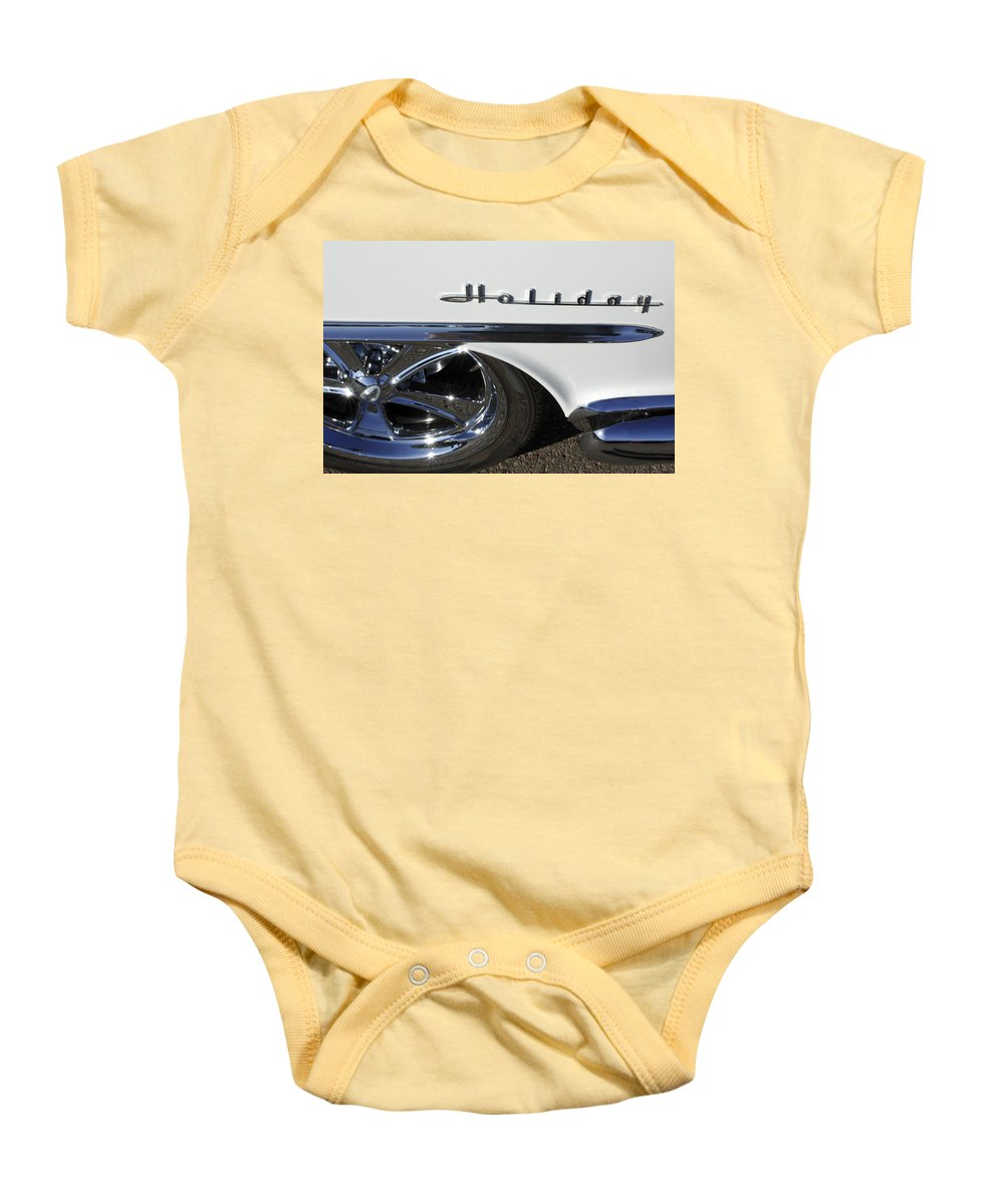 Oldsmobile Holiday Baby Onesie featuring the photograph Oldsmobile Holiday Emblem by Jill Reger