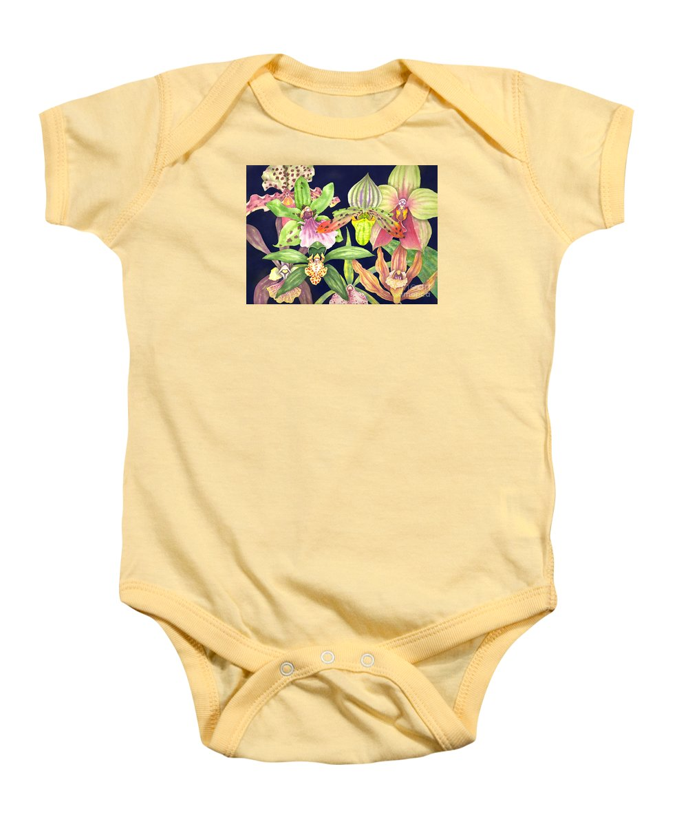 Orchids Baby Onesie featuring the painting Orchids by Lucy Arnold