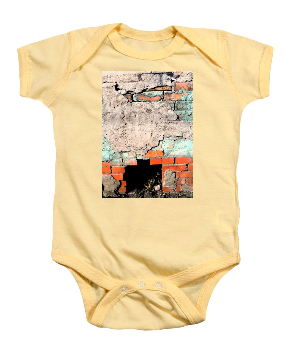 Abstract Baby Onesie featuring the photograph Outdoor Fireplace by Lenore Senior
