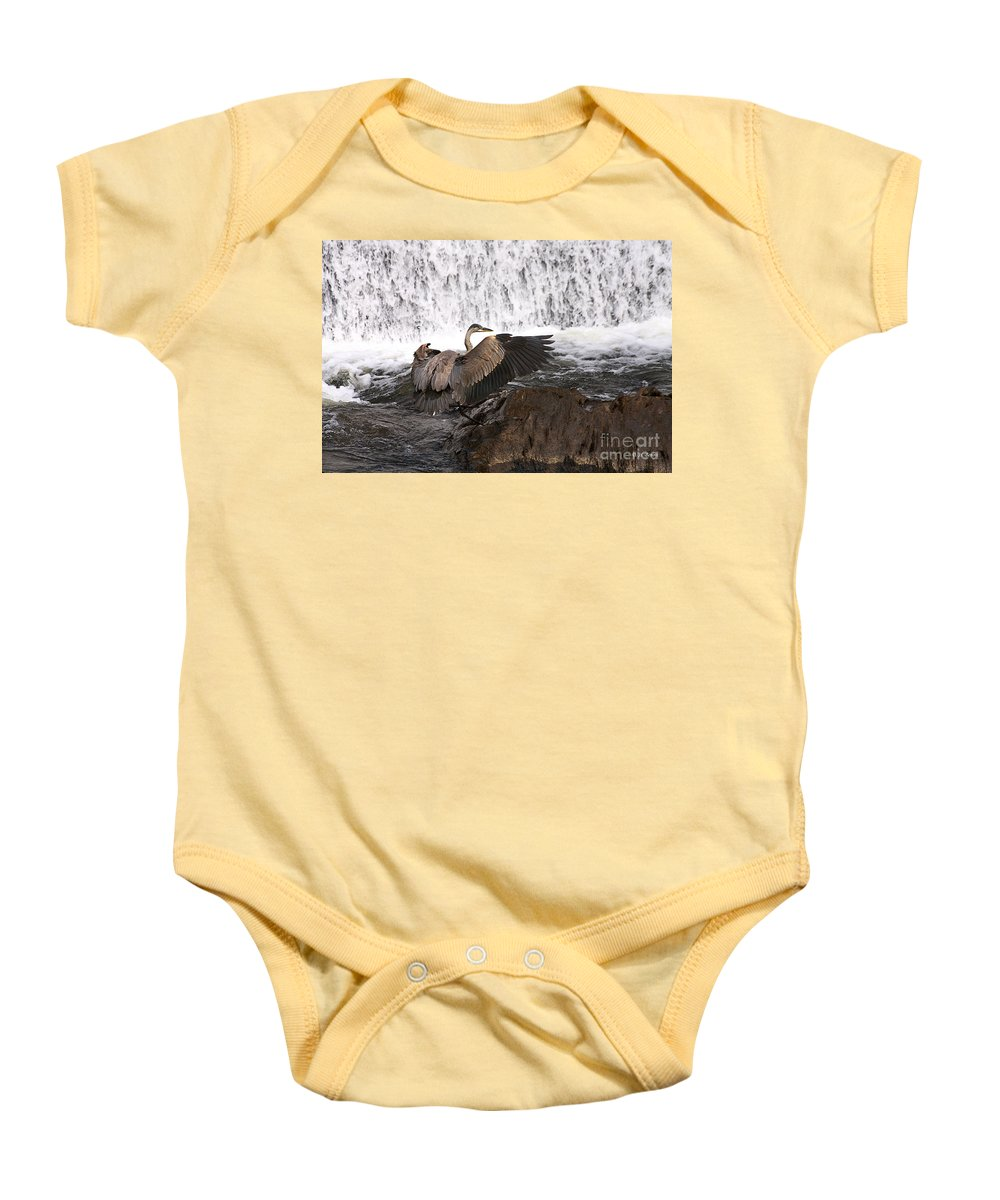 Blue Baby Onesie featuring the photograph Over The Rocks We Go by Deborah Benoit