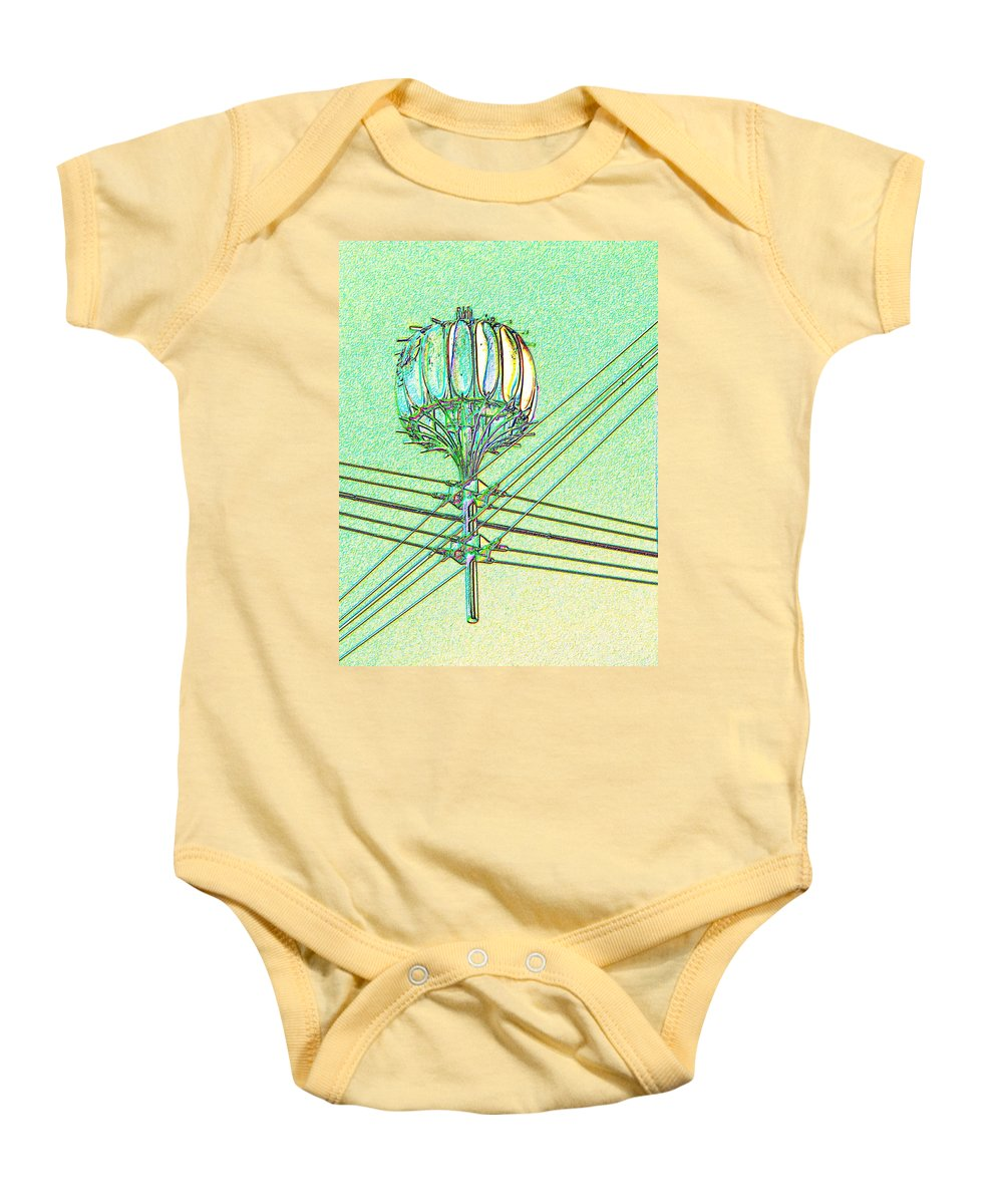 Seattle Baby Onesie featuring the digital art Pacific Science Center Lamp by Tim Allen