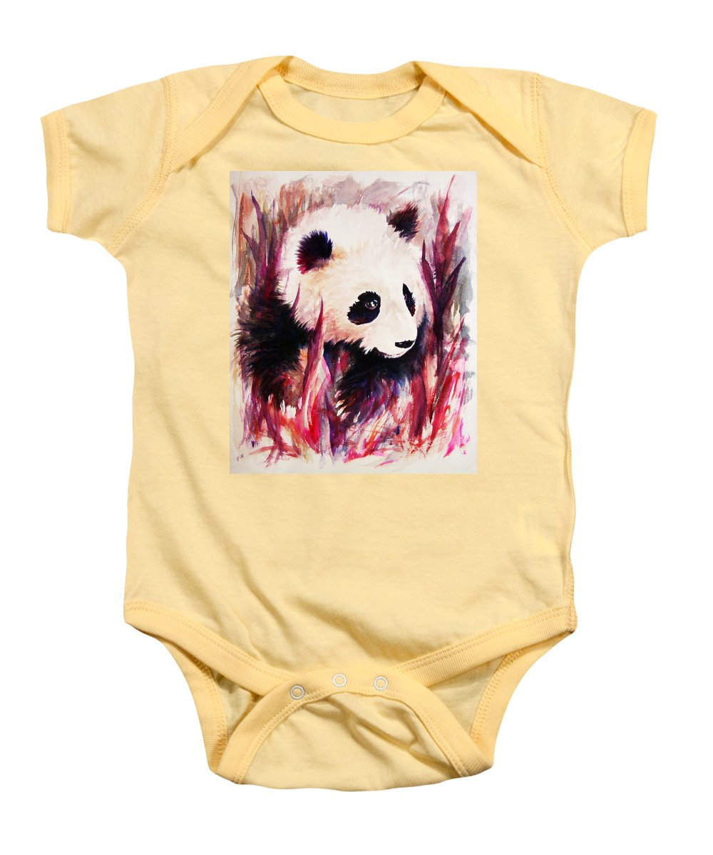 Panda Baby Onesie featuring the painting Panda by Rachel Christine Nowicki