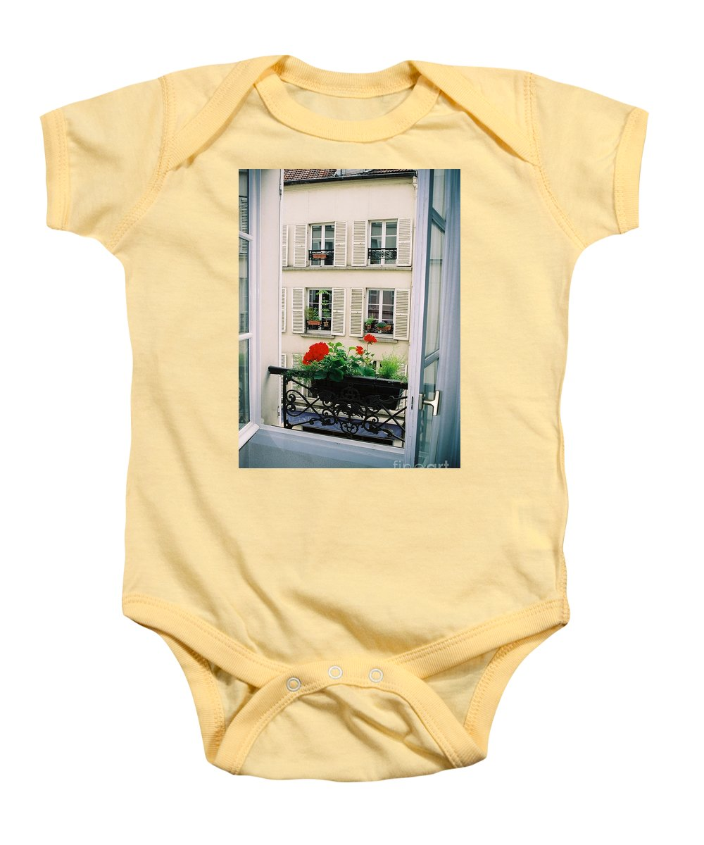 Window Baby Onesie featuring the photograph Paris Day Windowbox by Nadine Rippelmeyer