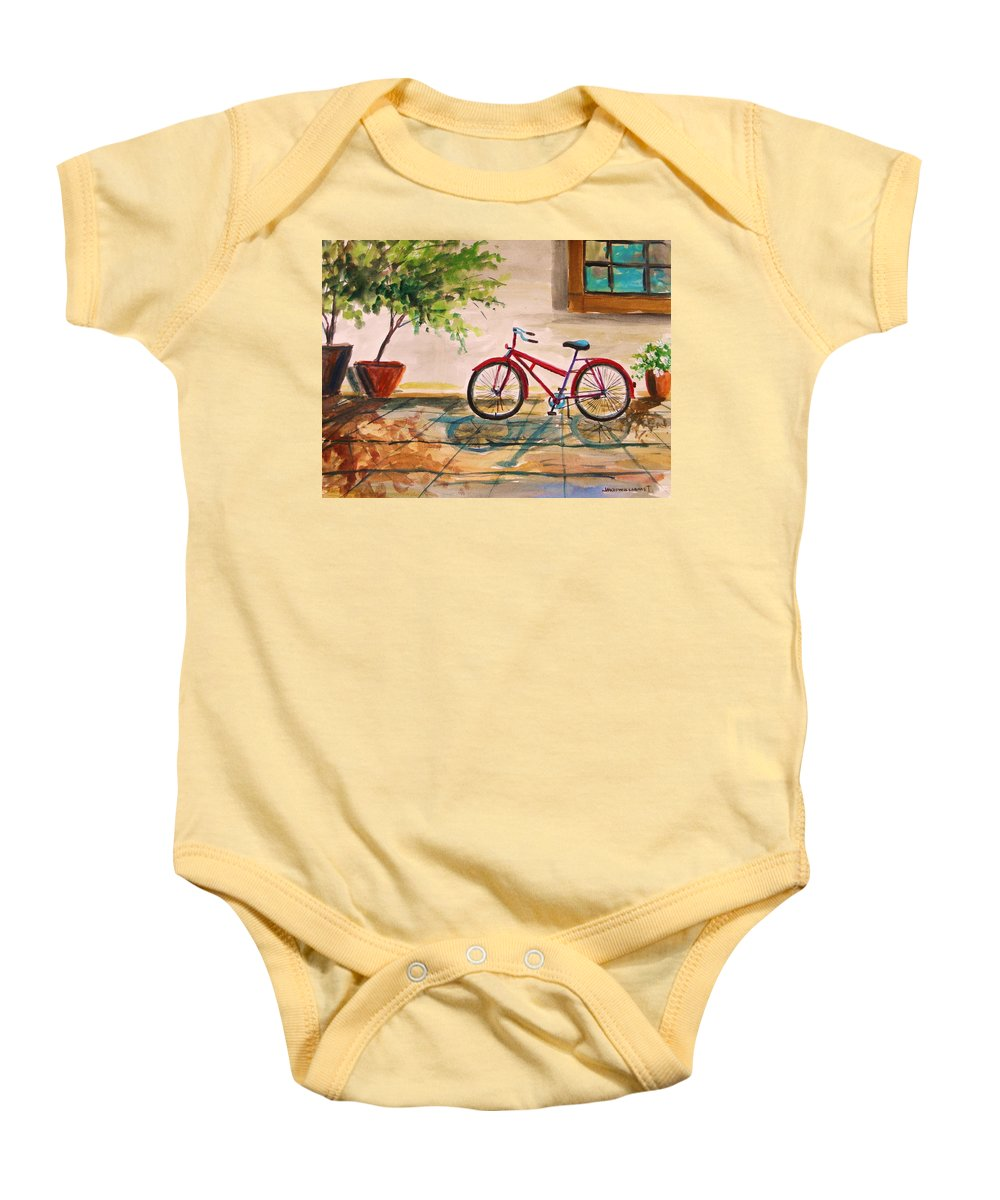 Bike Baby Onesie featuring the painting Parked In The Courtyard by John Williams