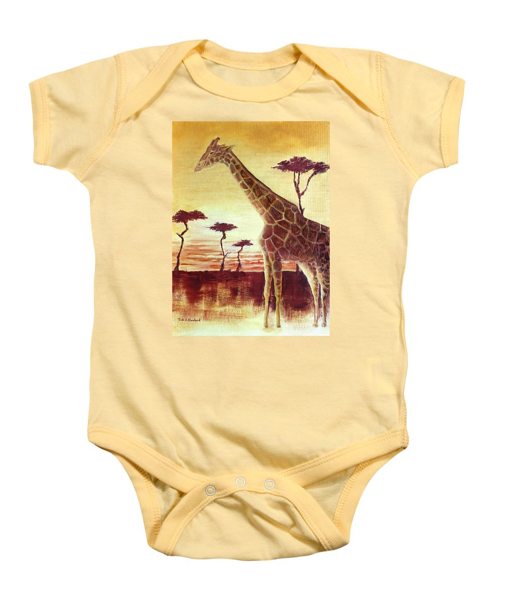 Animal Baby Onesie featuring the painting Patches by Todd A Blanchard