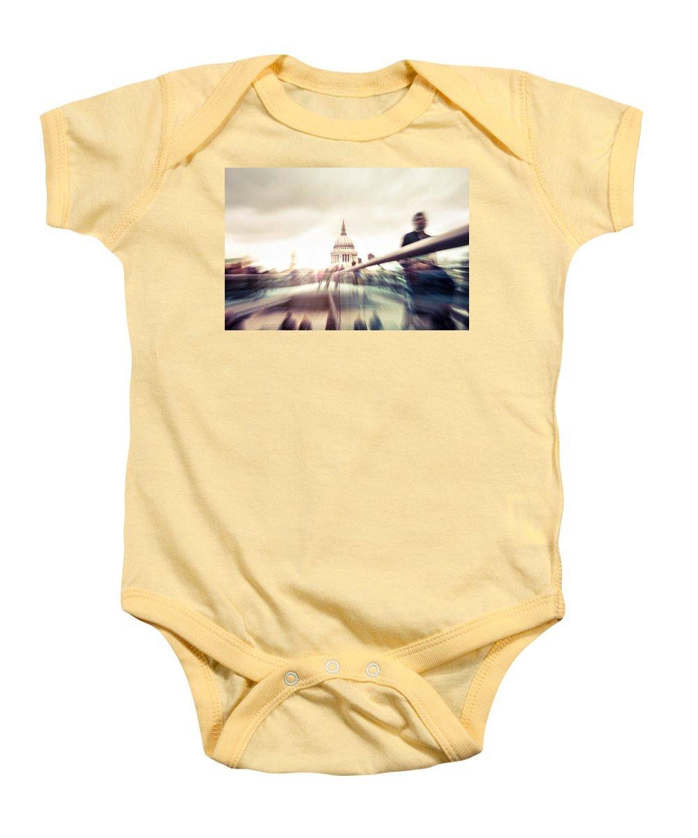 City Of London Baby Onesie featuring the photograph People On Millennium Bridge In London by Leonardo Patrizi