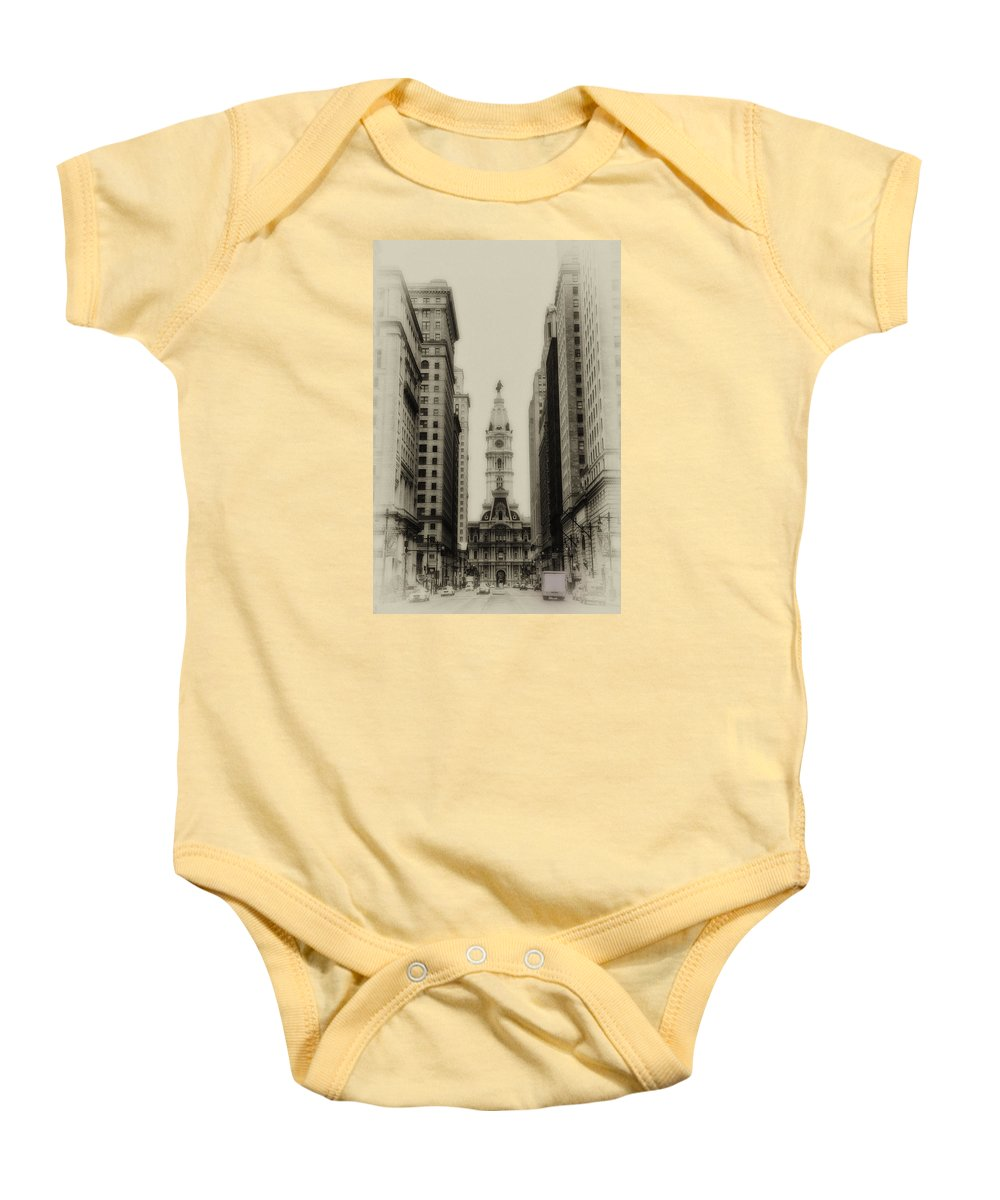 Philadelphia Baby Onesie featuring the photograph Philadelphia City Hall From South Broad Street by Bill Cannon