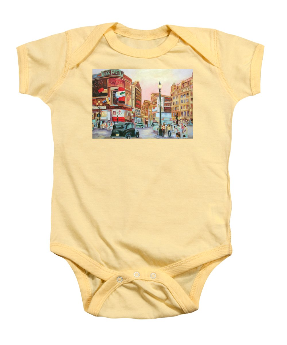 Cityscape Baby Onesie featuring the painting Picadilly by Ginger Concepcion