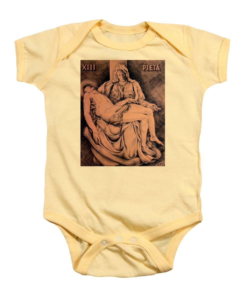 Pieta Baby Onesie featuring the drawing Pieta Study by Hanne Lore Koehler