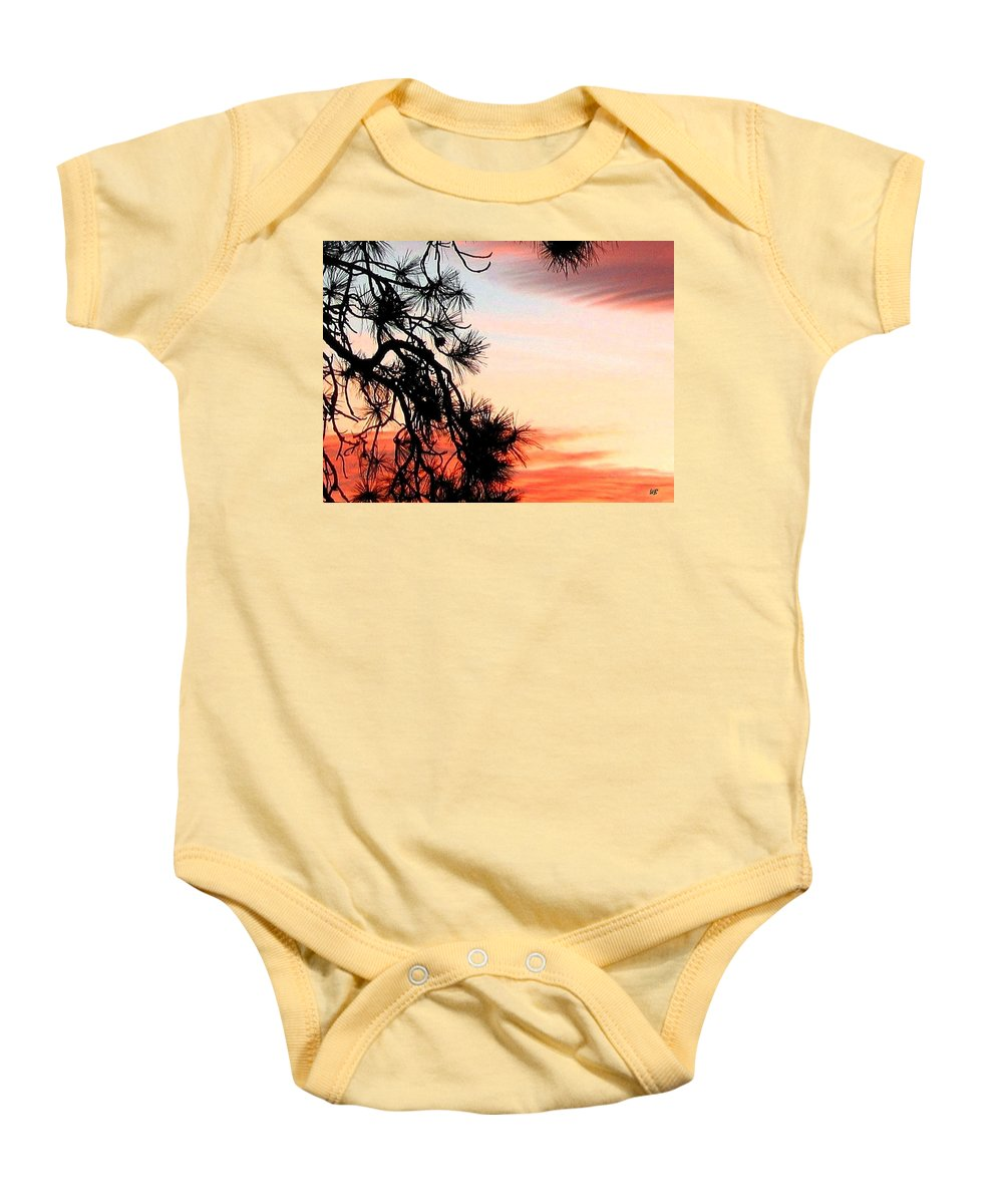 Sunset Baby Onesie featuring the photograph Pine Tree Silhouette by Will Borden