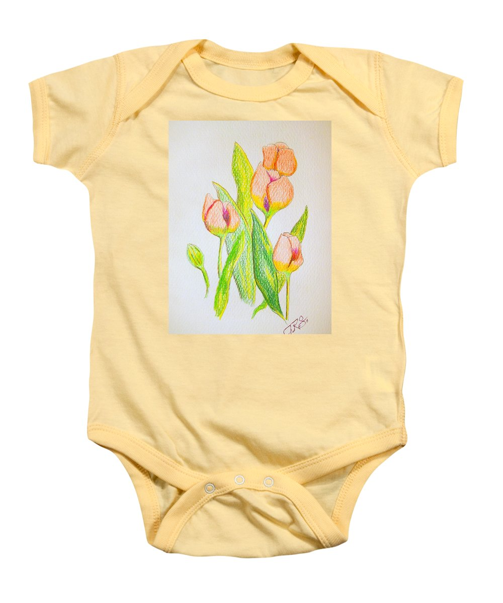 Tulips Baby Onesie featuring the drawing Pink Tulips by J R Seymour