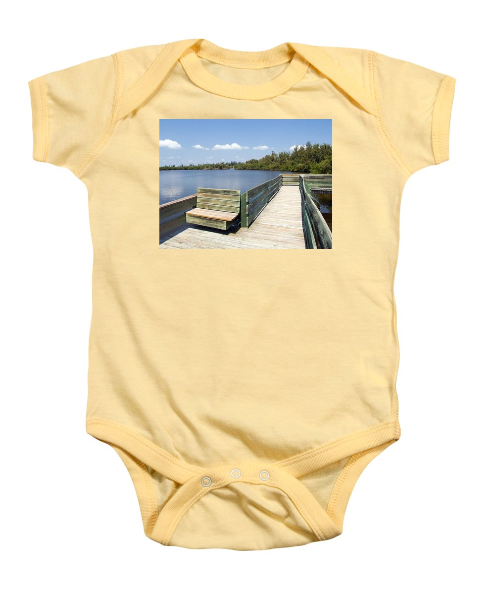 Kayak; Canoe; Florida; Round; Island; St; Saint; Lucie; County; Vero; Beach; Indian. River; Estuary; Baby Onesie featuring the photograph Place For Fishing Or Just Sitting At Round Island In Florida by Allan Hughes